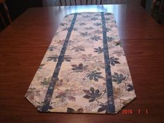 Leaf runner by bonmarcreations on Etsy (Home & Living, Kitchen & Dining, Linens, Table Linens, table, dining, kitchen, runner, all occasion, green leaves, mauve leaves, creamy background, batik fabrics, gold backing, 43 x 14, wash dry iron)