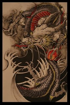 Not so much a fan of this style of finger waves but the simplicity and negative space definitely brings out the complexity of detail in the dragon. The dragon itself is a perfect representation of traditional Japanese IMO. Really dig this over all image Chinese Tattoo Designs, Dragon Tattoo Designs, Japanese Dragon, Japanese Art, Chinese Dragon Tattoos, Art Chinois, Traditional Japanese Tattoos, Year Of The Dragon, Bild Tattoos