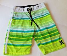 a17d6538f8 Details about Men's Hurley Blue Green Diamond Geometric Swim Trunks Board Shorts  Size 28