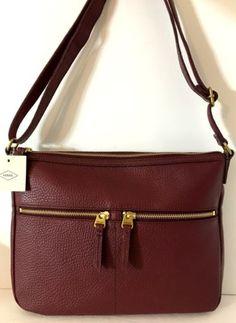 NEW FOSSIL Elise Large Crossbody Shoulder Bag Cabernet Genuine Pebbled Leather