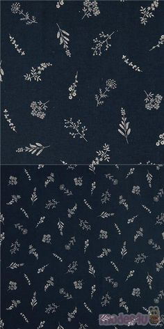"""lovely cotton sheeting fabric in dark blue with detailed herbal print of white flowers with stem and leaves, Material: 100% cotton, Pattern Repeat: ca. 20cm (7.8"""") #Cotton #Flower #Leaf #Plants #JapaneseFabrics"""