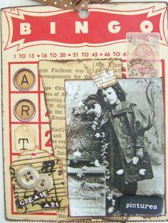 primitive altered bingo card