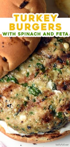 These Turkey Burgers are an easy recipe for on the grill. Made with ground turkey, spinach, feta, and tasty seasonings, they cook up perfectly juicy. Say hello to your latest healthy homemade dinner! Spinach Turkey Burgers, Ground Turkey Burgers, Grilled Turkey Burgers, Greek Turkey Burgers, Healthy Ground Turkey, Ground Turkey Recipes, Healthy Turkey Burgers, Meals With Ground Turkey, Healthy Turkey Recipes