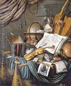 Edwaert Collier:A vanitas still life of a globe, a casket of jewels and medallions, books, a hurdy-gurdy, a bagpipe, a lute, a violin, a silver tazza, a roemer