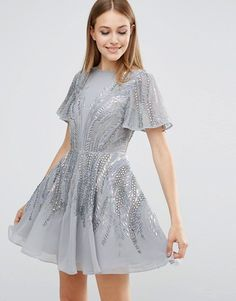 ASOS | ASOS Silver Sparkle Skater Mini Dress