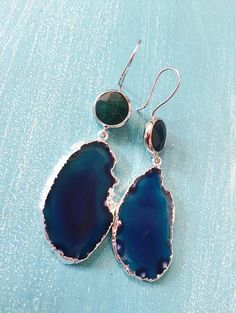 Green Jade and Blue Agate Slice Earrings Beautiful Bezeled Green Jade and Blue Agate Slice Earrings ~Approx 3