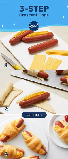 This easy, three-step pigs in a blanket recipe is loved by hungry kids and busy parents alike. Simply fill each hot dog with cheddar cheese, wrap in Pillsbury Crescent Rolls and bake. Prep only takes 10 minutes, so you can still relax and enjoy a delicious meal together. It's a win-win for everyone. Fun Food, Good Food, Yummy Food, Hot Dog Buns, Hot Dogs, Crescent Dogs, Cheese Wrap, Pigs In A Blanket, Simply Filling