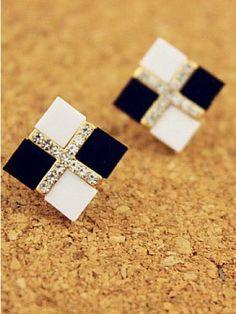 Rhinestone Monochrome Earrings
