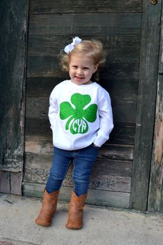 Toddler St Patricks Day Shirt with Glitter Four Leaf Clover - Shamrock - Toddler…
