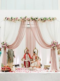 Summer Gujarati Indian Wedding. Pink, Mauve, white mandap. Venue: Sheraton Tysons Hotel, McLean, VA| Wedding Coordination: Vicky Choy/Event Accomplished. Photo: Mariel Hannah