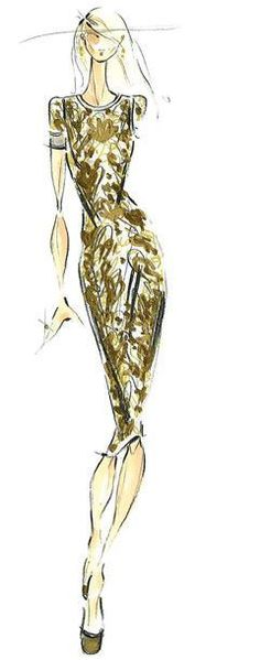 Fashion illustration - fashion sketch of Pamella Roland dress