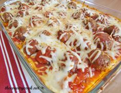"Meatball Sub Casserole...This recipe won me the ""Most Delish Dish"" at the 4th of July Picnic.  It's that awesome!  Go.  Try it now!    http://www.thecountrycook.net/2012/05/meatball-sub-casserole-and-giveaway.html#"