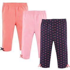 Hudson Baby Size Satin Bow-Trimmed Leggings In Coral/blue Baby Leggings, Cotton Leggings, Girls Leggings, Cotton Pants, Cotton Spandex, Baby Girl Pants, Toddler Pants, Kids Pants, Coral Blue