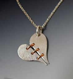 Sterling Silver and Rose Gold Broken Heart by Jewelrybyfrancine, $90.00