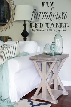 Farmhouse style X end table with light gray stained finish. Farmhouse style X end table with light gray stained finish. Farmhouse End Tables, Rustic End Tables, Diy End Tables, Side Tables, Small End Tables, Diy Furniture Plans, Diy Furniture Projects, Farmhouse Furniture, Furniture Assembly