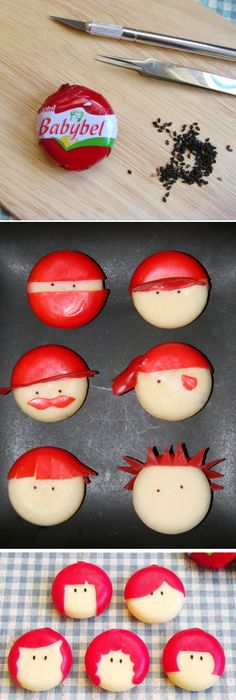 Cheese faces, Great for a kids party or any party.....to cute! kids party food. parties and entertaining. birthdays. bridal and baby showers.