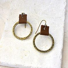 AG Circle and Leather Earrings