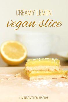 Most delicious lemon vegan slice ! Lemon Slice, Lemon Curd, Afternoon Snacks, Something Sweet, Plant Based Recipes, Coconut Milk, Spoon, Cravings, Biscuits