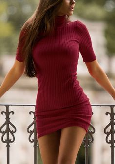 Want to look hot minus the effort? Yes, please! With this red ribbed turtleneck bodycon dress