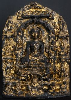 10th - 12th Century Bronze Burmese Buddhist Stele showing eight main events in the life of the Buddha