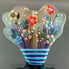 PIKALDA=handmade lampwork 1 focal glass bead flower blossom=GREENSKY=SRA