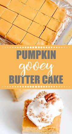If you love ooey gooey butter cake, give this easy Pumpkin Gooey Butter Cake a try! No cake mix needed, this fall pumpkin dessert is from scratch.