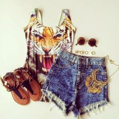 How to Chic: TIGER FACE ONE PIECE - OUTFIT SET