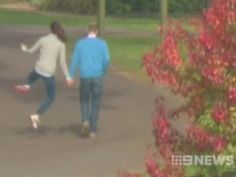 A Channel 9 still, which shows the Duchess of Cambridge clicking her heels on a walk with William