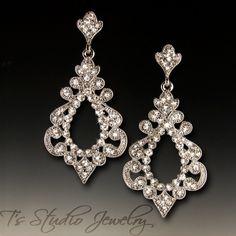 Rhinestone Bridal Chandelier Earrings from T's Studio Jewelry