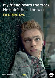 """Transport for London. New Poster Campaign """"Stop. Think. Live"""" In a magazine from the Don't let culture define how beauti. Campaign Posters, Advertising Campaign, Social Campaign, Safety Awareness, Disability Awareness, Social Awareness, Dont Text And Drive, Safety Message, Mayor Of London"""
