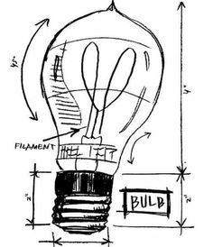 TIM HOLTZ Stampers Anonymous MOUNTED RUBBER STAMP Filament LIGHT BULB SKETCH