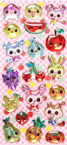 3D epoxy glitter stickers with animal fruit from Japan 1.94