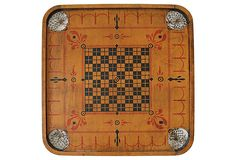 "Vintage (1930's) Two Sided Carom Game Board on one side and Checkerboard on the other. 28.5""Lx1.5""Wx29.75""H  $285   SOLD"