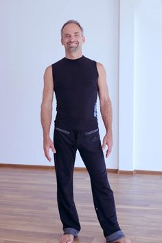 """Classy in his Roll-Up Pants and Ganesha Rocks Sleeveless Top, the great Craig Kohland -founder of """"Shaman's Dream"""" says: """"Omnitom is by far, the hippest most comfortable yoga clothing I've ever worn.""""  Thank you, Craig!"""