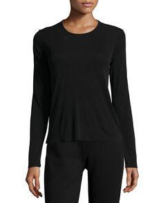 Long-Sleeve Silk Crewneck Tee, Women's, Size: LARGE (14/16), Black - Eileen Fisher