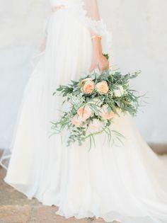 Organic rose wedding bouquet: http://www.stylemepretty.com/little-black-book-blog/2016/01/01/san-juan-capistrano-wedding-hayley-paige-sweetheart-dress/ | Photography: Honey Honey - http://www.hoooney.com/