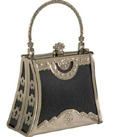 "Art Deco ""1920's"" Mishaps: - Coloriffics Handbags Small Silver Frame with Rhinestone - http://www.ebags.com/product/coloriffics-handbags/small-silver-frame-with-rhinestone/78090?productid=994053"