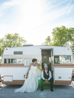 This couple hosted a casual camping wedding on the groom's family property.