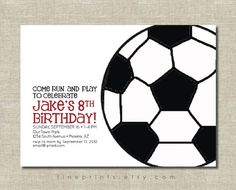 soccer party invitation by FinePrints on Etsy Soccer Birthday Parties, Sports Birthday, Birthday Fun, Kid Parties, Baseball Party, Soccer Party, Sports Party, Barney Birthday, Party Activities