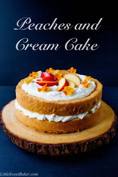 TARA MADE- Cake was too dry. PEACHES AND CREAM CAKE. A simple sponge cake with a fresh peaches and cream filling and finished with a cloud of whipped topping. Cake Filling Recipes, Cake Recipes, Dessert Recipes, Yummy Recipes, Baking Recipes, Diet Recipes, Brownies, Peach Cake, Lime Cake