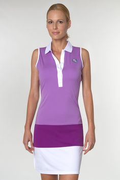 "Great golf dress and one of our best sellers!  Not only is it color blocked and ""on-trend"" but it's also Dri-Max.  Yay!  AUR Purple Haze Dri-Max Color Block Dress  #pinksandgreens #golfdress"