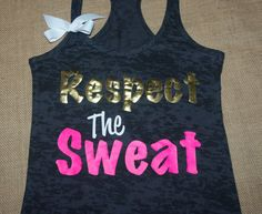 Respect The Sweat. Bow. Tank top. Racerback. Size S-2XL. Burnout. Black. Exercise. Women. Workout. on Etsy, $28.00