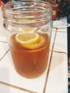 Lemonade Oolong tea  2 oolong tea bags 1 tbsp lemon juice 12oz water 3 doonks thm stevia 2 slices lemon
