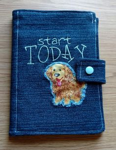 Puppy Denim Cover Mini Composition, Notebook Cover, Journal, Jacket, Bible Cover, Reusable by DenimDelightsByLinda on Etsy