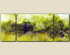 """Green Mountain"" Triptych very large abstract canvas print 30x72 by FinnellFineArt, $425.00"