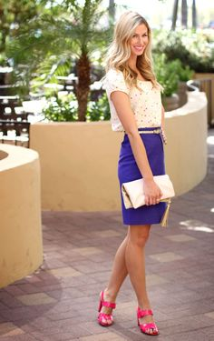 Top: Kate Spade (Thrifted); Skirt: JCrew (on major sale); Shoes: JCrew (on major sale); Belt: JCrew; Bracelets: c/o Taylor Morgan Designs; Clutch: H Lipstick: Mac (Girl About Town)