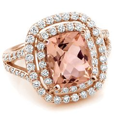 Jewelry Point - Cushion Morganite Double Halo Diamond Cocktail Split Ring Rose Gold, $2,350.00 (http://www.jewelrypoint.com/cushion-morganite-double-halo-diamond-cocktail-split-ring-rose-gold/)