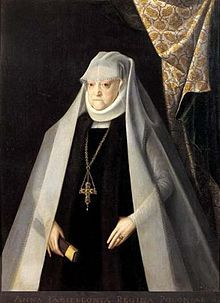 Anna Jagiellon as a widow (Polish: Anna Jagiellonka, Lithuanian: Ona Jogailaitė; 1523–1596) was queen of Poland from 1575 to 1586. She was the daughter of Poland's King Sigismund I the Old, and the wife of Stephen Báthory. She was elected, along with her then fiance, Báthory, as co-ruler in the second election of the Polish-Lithuanian Commonwealth. Anna was the last member of the Jagiellon dynasty.
