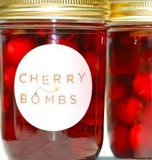 CHERRY BOMBS spicy pickled cherries - pickled with Thai chilies and a vanilla bean. Thinking I would sub and reduce the chili. Also Tarragon Cherries that seem interesting. Party Drinks, Fun Drinks, Yummy Drinks, Alcoholic Drinks, Cocktails, Yummy Food, Cheers, Pickled Cherries, Everclear