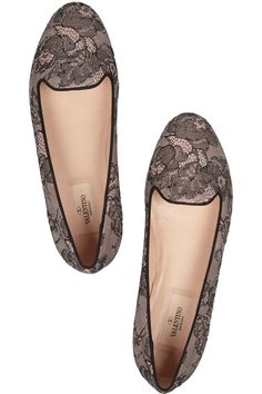 VALENTINO  Embellished lace and leather loafers  $695
